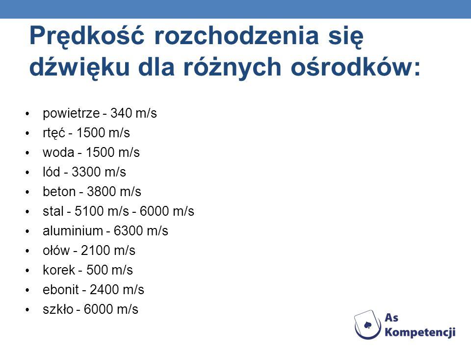 Prędkość rozchodzenia się dźwięku dla różnych ośrodków: powietrze - 340 m/s rtęć - 1500 m/s woda - 1500 m/s lód - 3300 m/s beton - 3800 m/s stal - 510