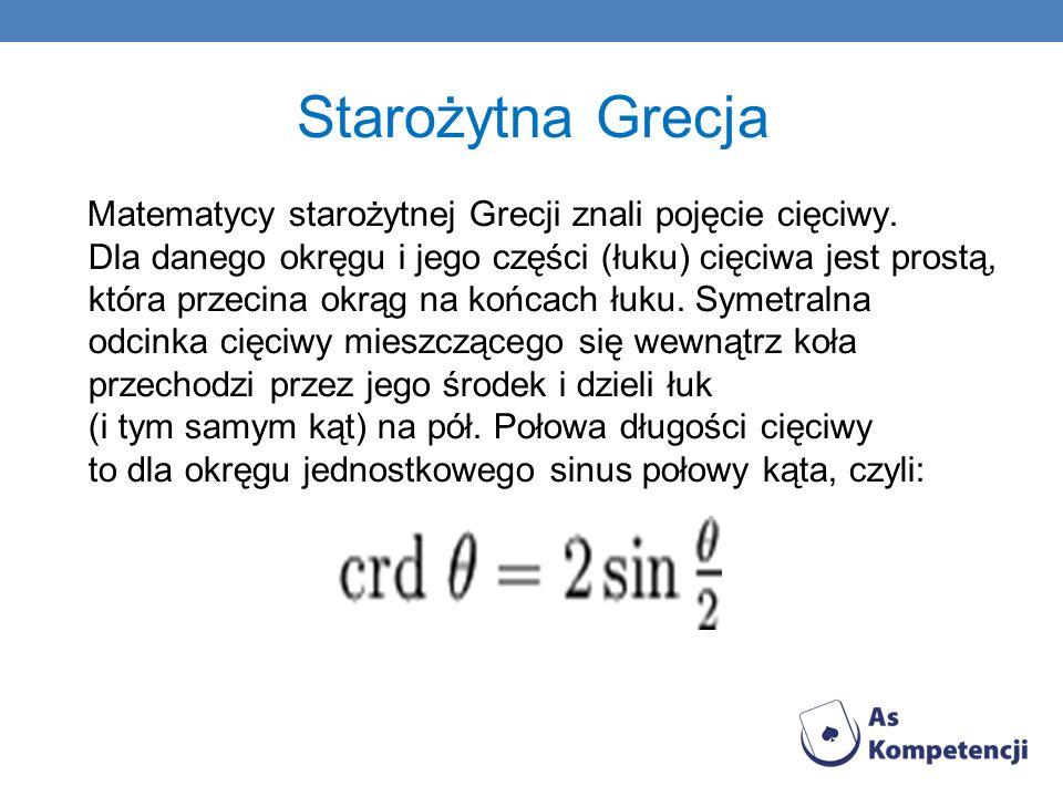 Starożytna Grecja Matematycy starożytnej Grecji znali pojęcie cięciwy. Dla danego okręgu i jego części (łuku) cięciwa jest prostą, która przecina okrą