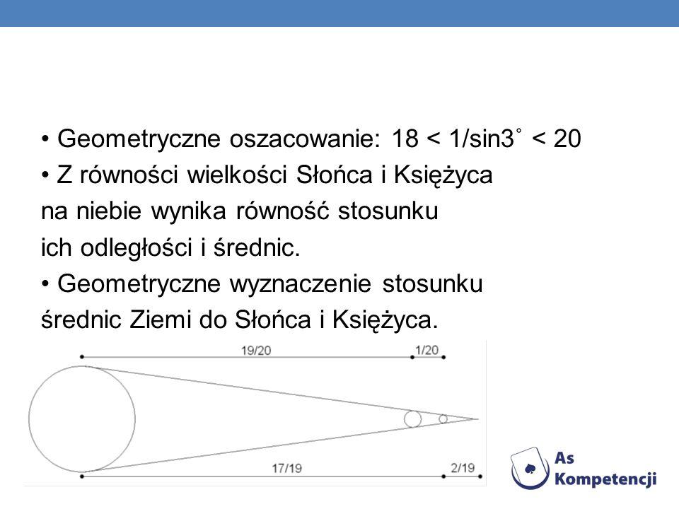 Geometryczne oszacowanie: 18 < 1/sin3˚ < 20 Z równości wielkości Słońca i Księżyca na niebie wynika równość stosunku ich odległości i średnic. Geometr