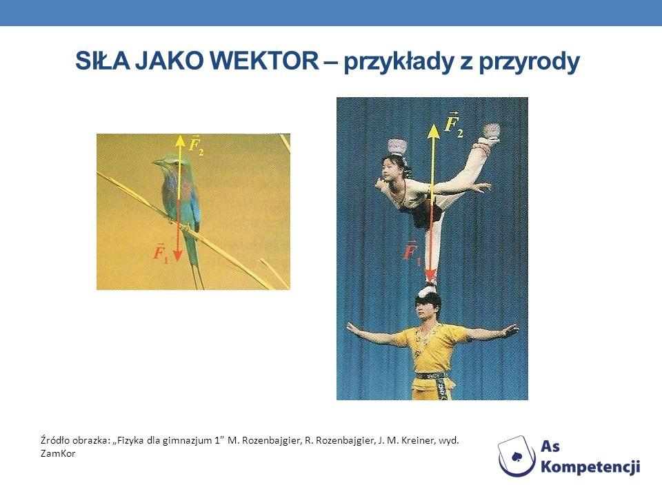 SIŁA JAKO WEKTOR – przykłady z przyrody Źródło obrazka: Fizyka dla gimnazjum 1 M. Rozenbajgier, R. Rozenbajgier, J. M. Kreiner, wyd. ZamKor