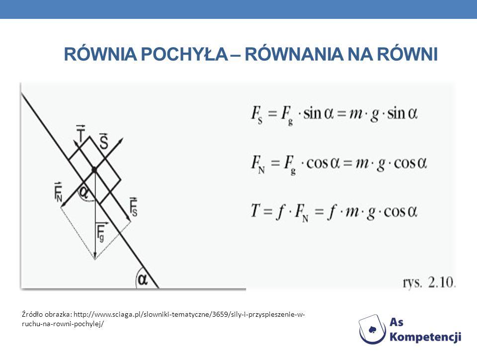 RÓWNIA POCHYŁA – RÓWNANIA NA RÓWNI Źródło obrazka: http://www.sciaga.pl/slowniki-tematyczne/3659/sily-i-przyspieszenie-w- ruchu-na-rowni-pochylej/