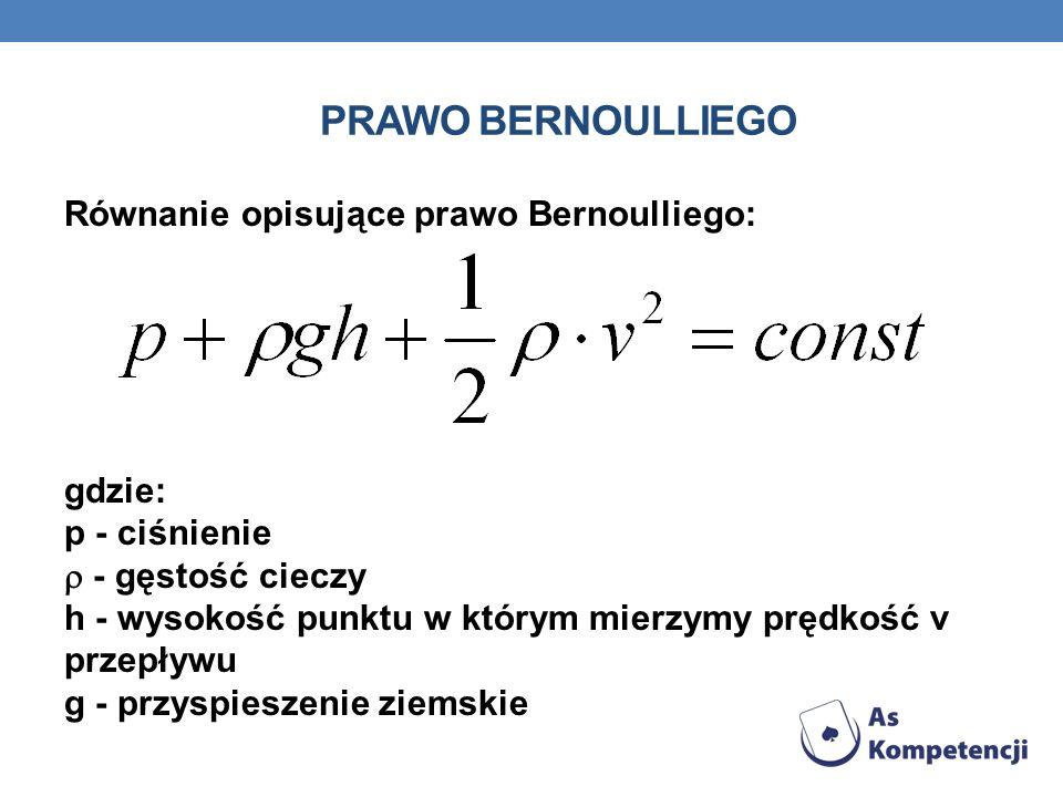 PRAWO BERNOULLIEGO Równanie opisujące prawo Bernoulliego: gdzie: p - ciśnienie - gęstość cieczy h - wysokość punktu w którym mierzymy prędkość v przep