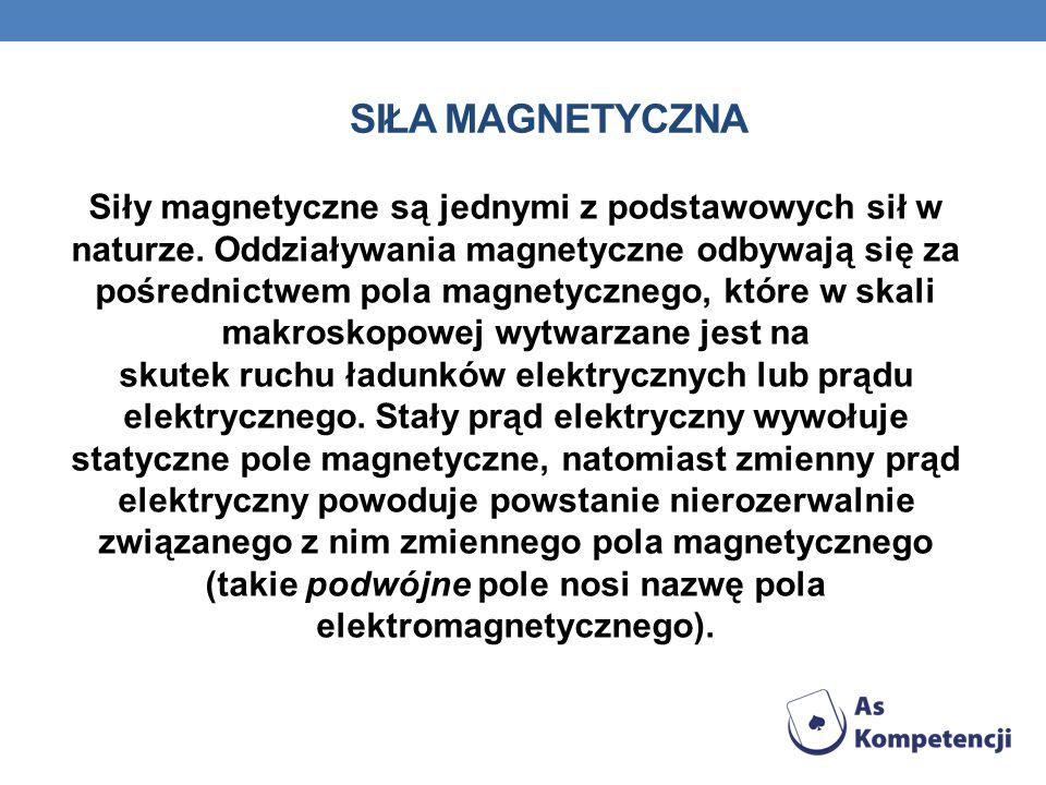 SIŁA MAGNETYCZNA Siły magnetyczne są jednymi z podstawowych sił w naturze. Oddziaływania magnetyczne odbywają się za pośrednictwem pola magnetycznego,