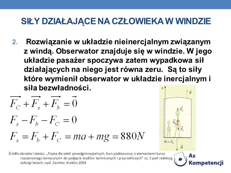 SIŁY DZIAŁAJĄCE NA CZŁOWIEKA W WINDZIE 2. Rozwiązanie w układzie nieinercjalnym związanym z windą. Obserwator znajduje się w windzie. W jego układzie