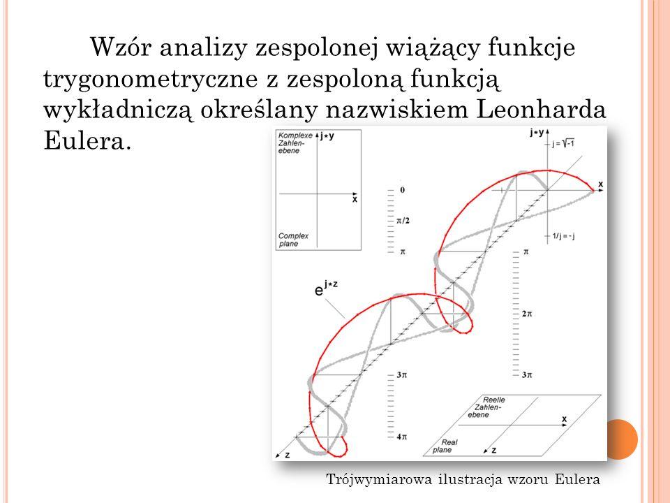 Wzór analizy zespolonej wiążący funkcje trygonometryczne z zespoloną funkcją wykładniczą określany nazwiskiem Leonharda Eulera. Trójwymiarowa ilustrac