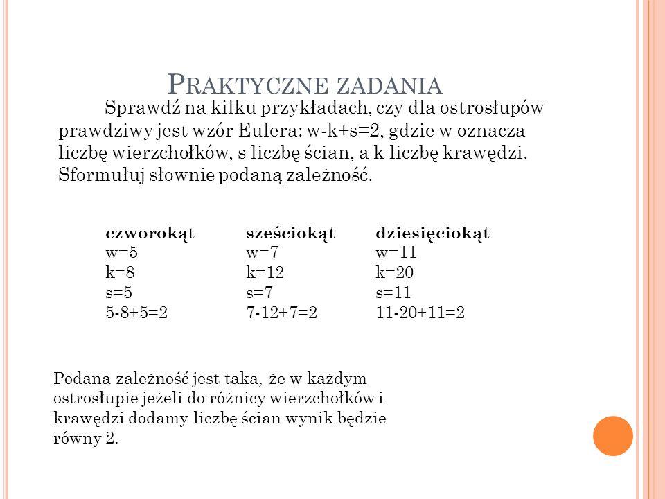 P RAKTYCZNE ZADANIA Sprawdź na kilku przykładach, czy dla ostrosłupów prawdziwy jest wzór Eulera: w-k+s=2, gdzie w oznacza liczbę wierzchołków, s licz
