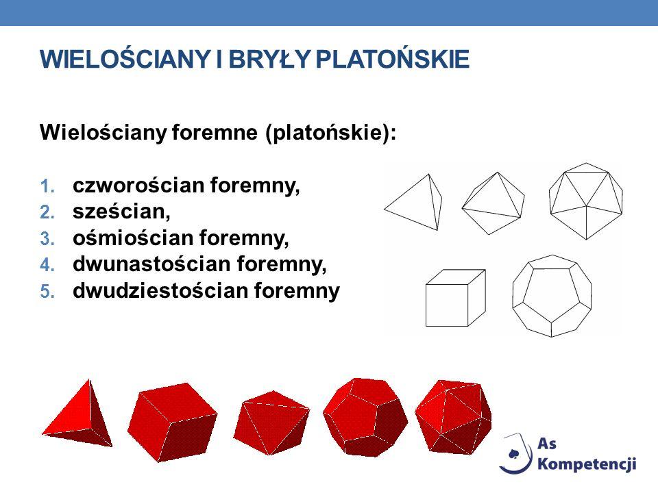 WIELOŚCIANY I BRYŁY PLATOŃSKIE Wielościany foremne (platońskie): 1. czworościan foremny, 2. sześcian, 3. ośmiościan foremny, 4. dwunastościan foremny,