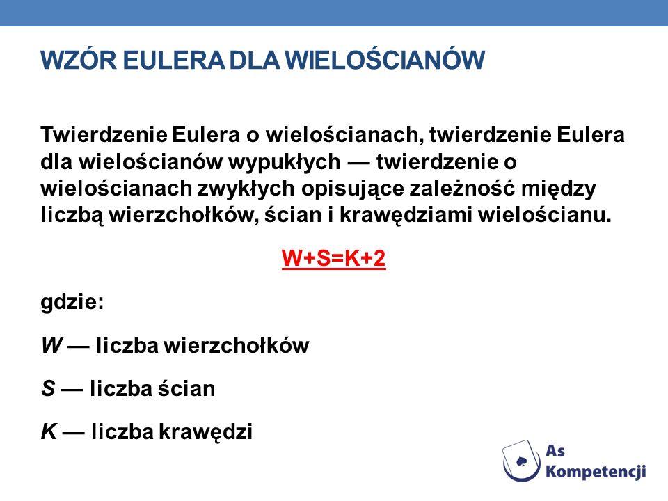 WZÓR EULERA DLA WIELOŚCIANÓW Twierdzenie Eulera o wielościanach, twierdzenie Eulera dla wielościanów wypukłych twierdzenie o wielościanach zwykłych op