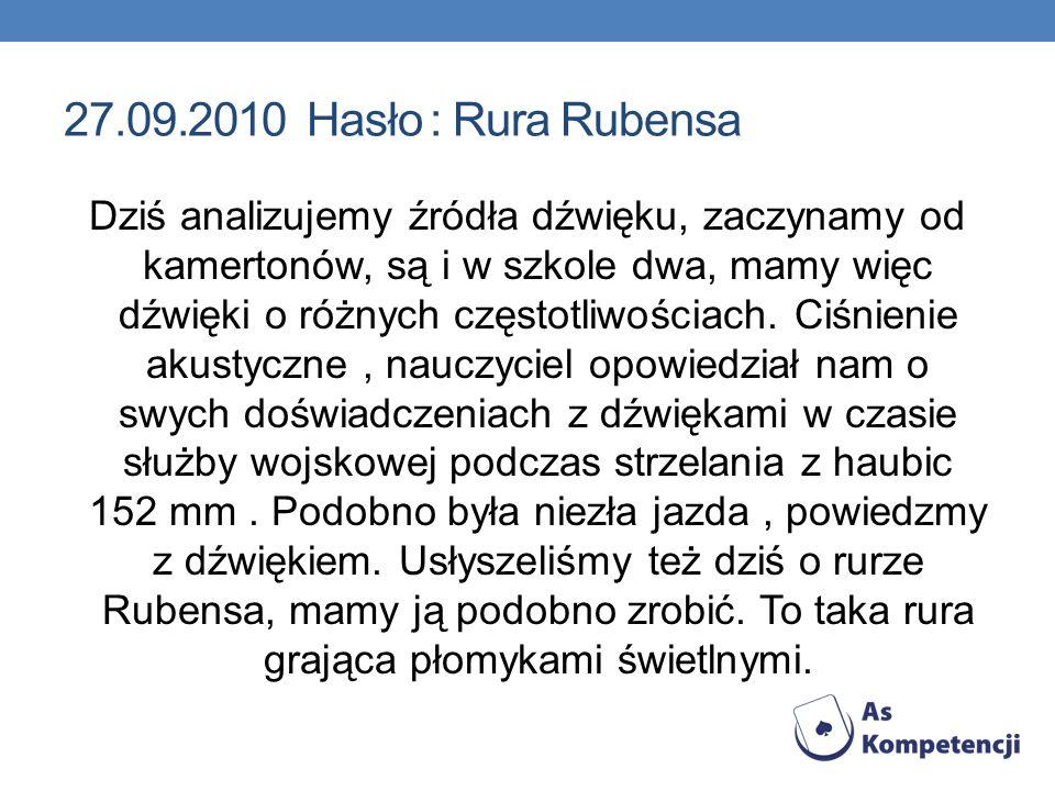27.09.2010 Hasło : Rura Rubensa Dziś analizujemy źródła dźwięku, zaczynamy od kamertonów, są i w szkole dwa, mamy więc dźwięki o różnych częstotliwośc