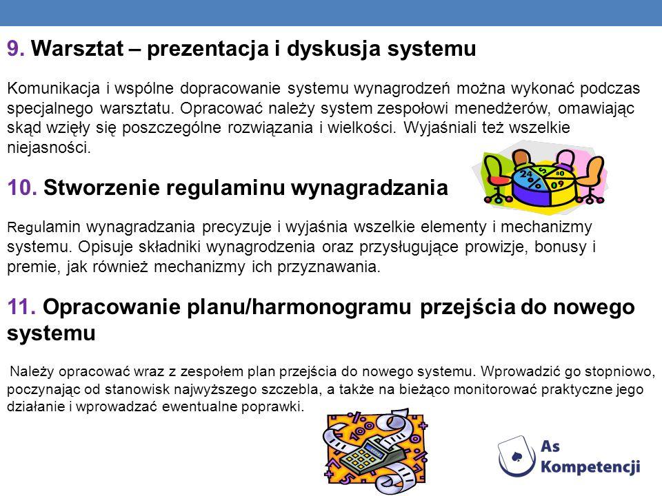 9. Warsztat – prezentacja i dyskusja systemu Komunikacja i wspólne dopracowanie systemu wynagrodzeń można wykonać podczas specjalnego warsztatu. Oprac