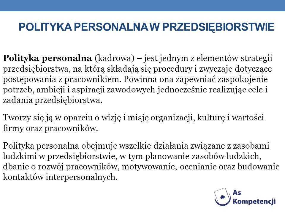 POLITYKA PERSONALNA W PRZEDSIĘBIORSTWIE Polityka personalna (kadrowa) – jest jednym z elementów strategii przedsiębiorstwa, na którą składają się proc