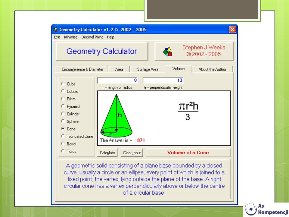 GraphCalc pozwala na tworzenie wykresów dwu oraz trójwymiarowych w układzie współrzędnych prostokątnych, biegunowych, parametrycznych.