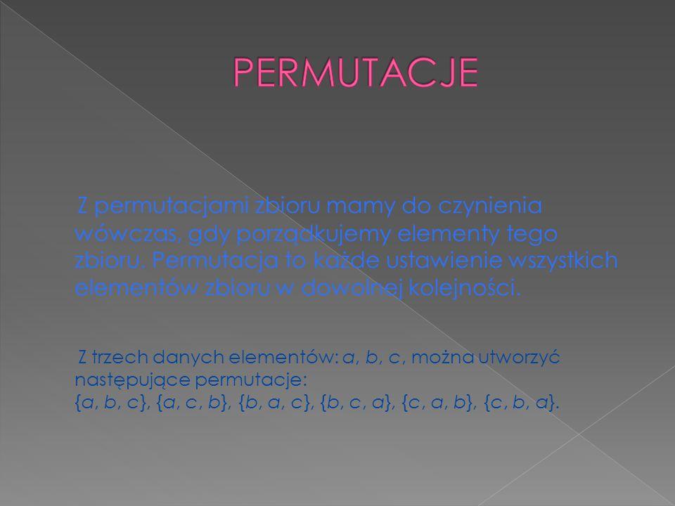 Z permutacjami zbioru mamy do czynienia wówczas, gdy porządkujemy elementy tego zbioru. Permutacja to każde ustawienie wszystkich elementów zbioru w d