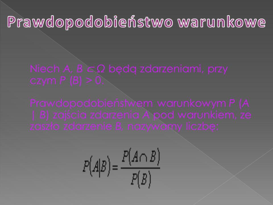 Niech A, B Ω będą zdarzeniami, przy czym P (B) > 0. Prawdopodobieństwem warunkowym P (A | B) zajścia zdarzenia A pod warunkiem, ze zaszło zdarzenie B,