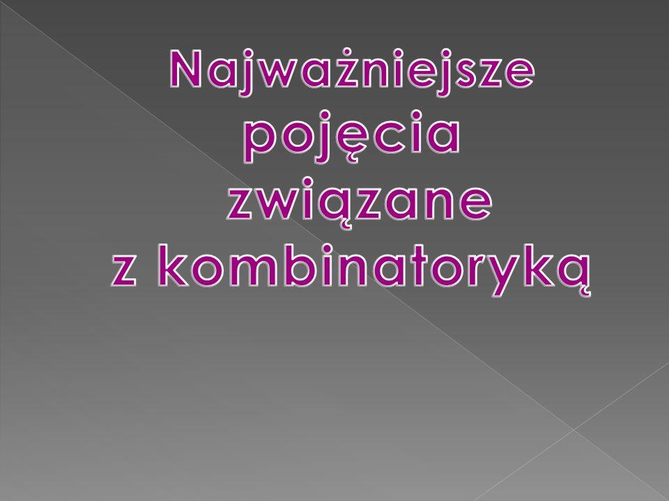 Wariacją bez powtórzeń k - wyrazową zbioru n - elementowego A (1 k n) nazywa się każdy k - wyrazowy ciąg k różnych elementów tego zbioru (kolejność tych elementów ma znaczenie).