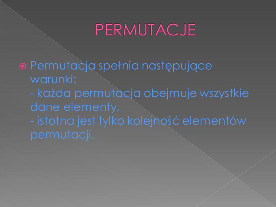 Permutacja spełnia następujące warunki: - każda permutacja obejmuje wszystkie dane elementy, - istotna jest tylko kolejność elementów permutacji.