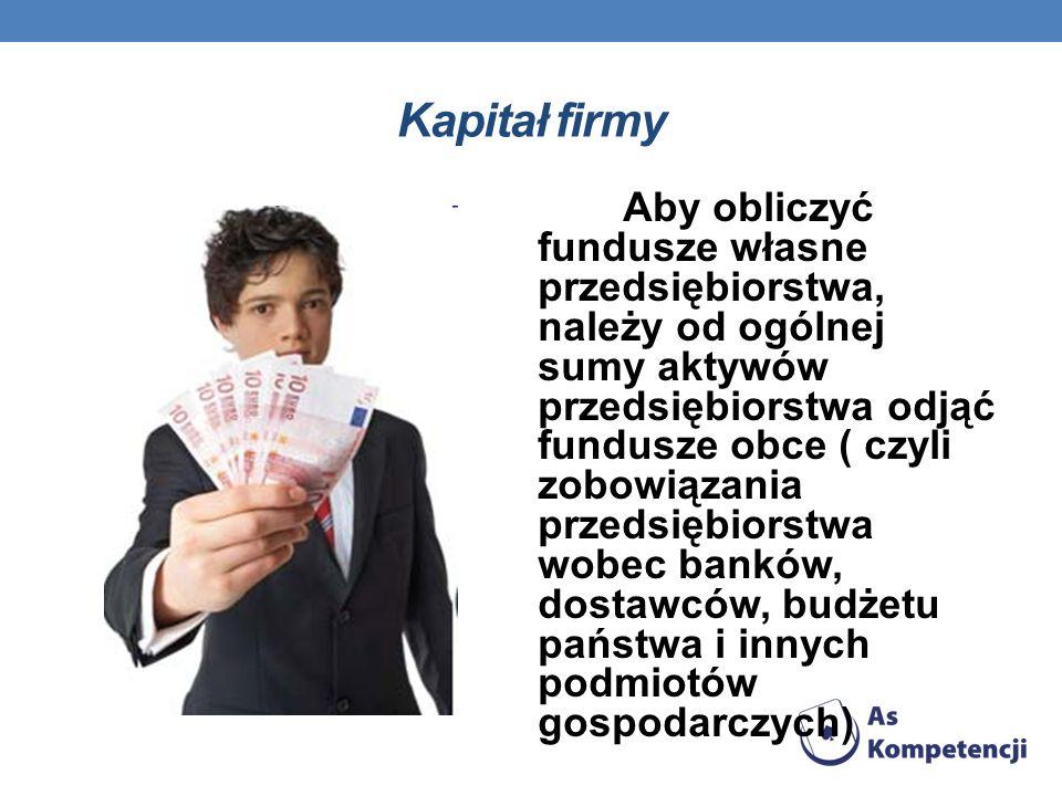 Kapitał firmy Aby obliczyć fundusze własne przedsiębiorstwa, należy od ogólnej sumy aktywów przedsiębiorstwa odjąć fundusze obce ( czyli zobowiązania