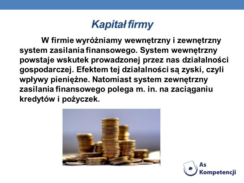 Kapitał firmy W firmie wyróżniamy wewnętrzny i zewnętrzny system zasilania finansowego. System wewnętrzny powstaje wskutek prowadzonej przez nas dział