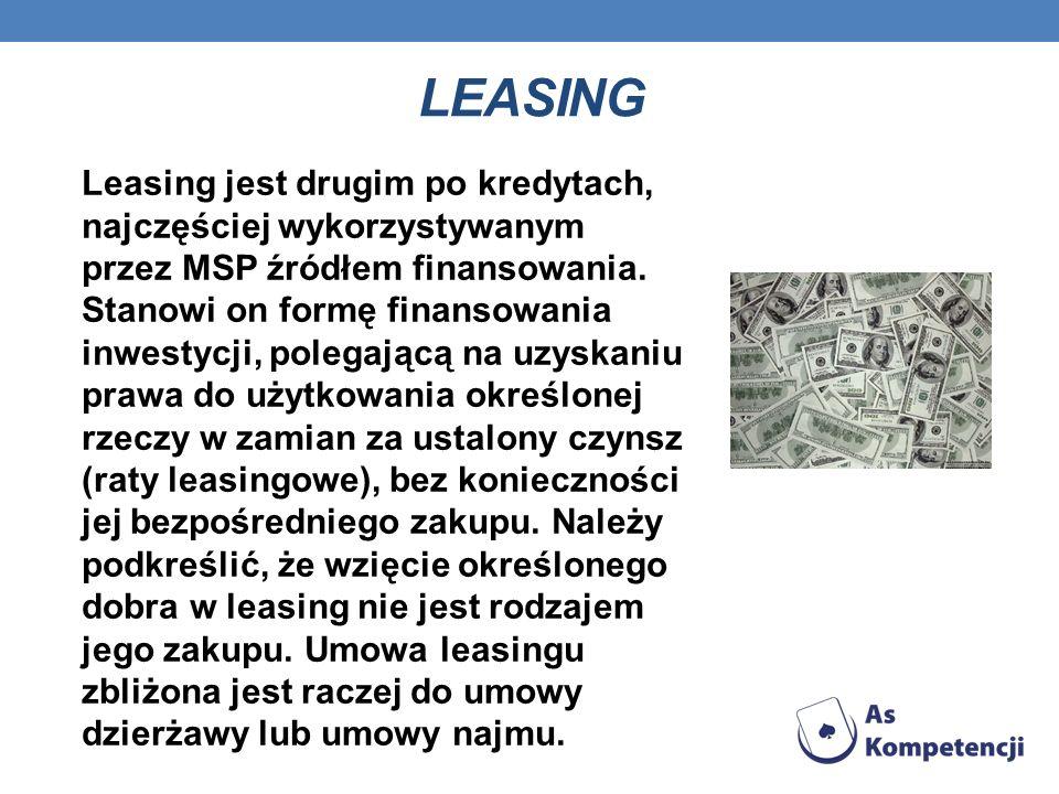 LEASING Leasing jest drugim po kredytach, najczęściej wykorzystywanym przez MSP źródłem finansowania. Stanowi on formę finansowania inwestycji, polega