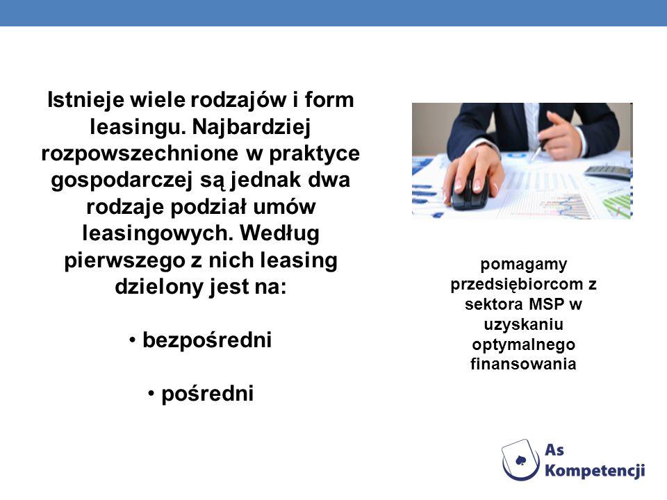 Istnieje wiele rodzajów i form leasingu. Najbardziej rozpowszechnione w praktyce gospodarczej są jednak dwa rodzaje podział umów leasingowych. Według