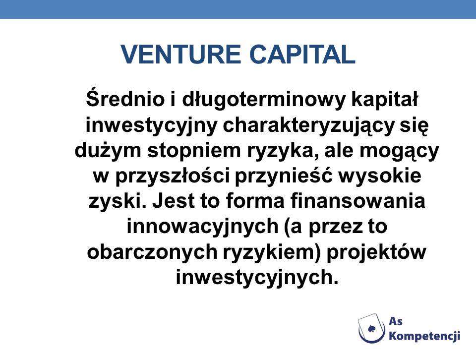 VENTURE CAPITAL Średnio i długoterminowy kapitał inwestycyjny charakteryzujący się dużym stopniem ryzyka, ale mogący w przyszłości przynieść wysokie z