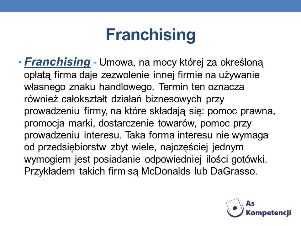 Franchising Franchising - Umowa, na mocy której za określoną opłatą firma daje zezwolenie innej firmie na używanie własnego znaku handlowego. Termin t