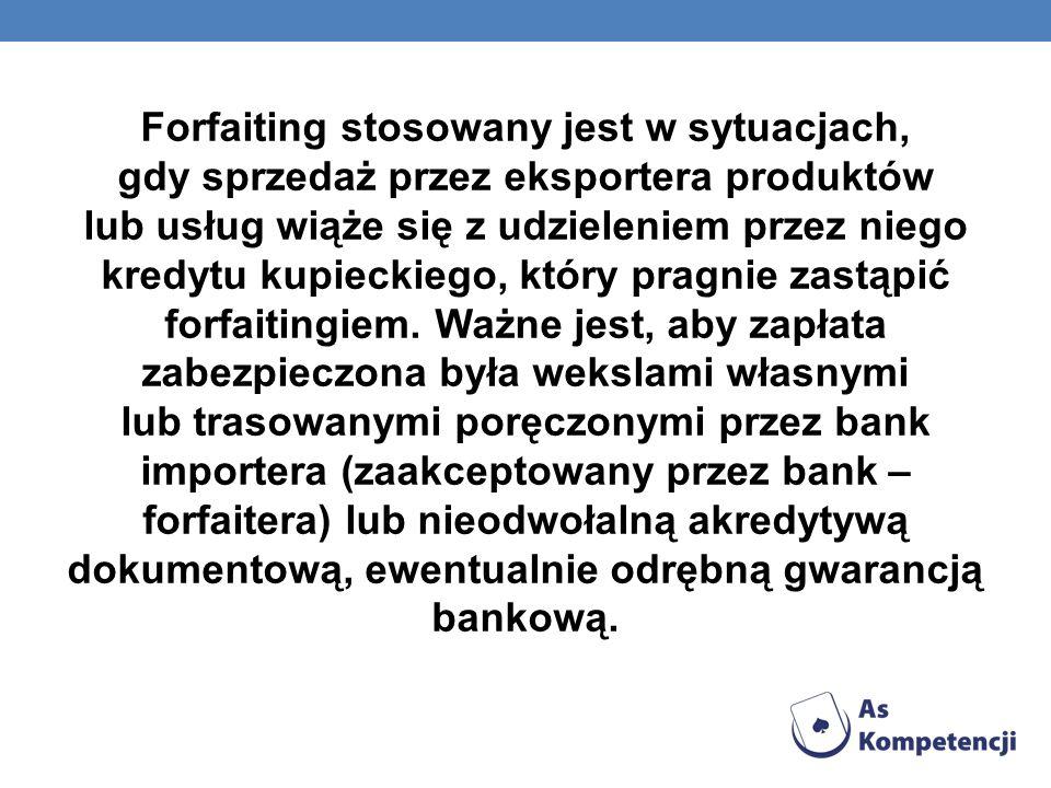 Forfaiting stosowany jest w sytuacjach, gdy sprzedaż przez eksportera produktów lub usług wiąże się z udzieleniem przez niego kredytu kupieckiego, któ