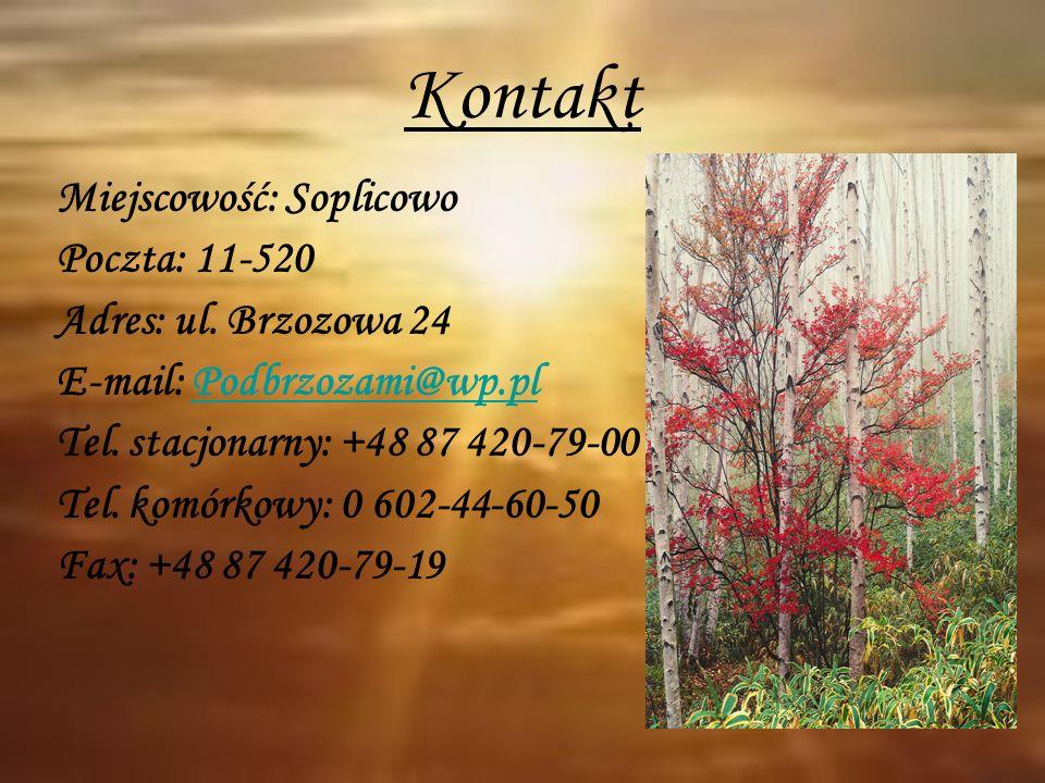 Kontakt Miejscowość: Soplicowo Poczta: 11-520 Adres: ul. Brzozowa 24 E-mail: Podbrzozami@wp.plPodbrzozami@wp.pl Tel. stacjonarny: +48 87 420-79-00 Tel