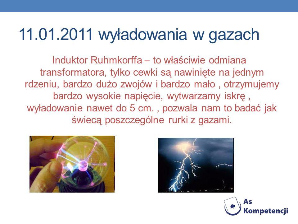 11.01.2011 wyładowania w gazach Induktor Ruhmkorffa – to właściwie odmiana transformatora, tylko cewki są nawinięte na jednym rdzeniu, bardzo dużo zwo