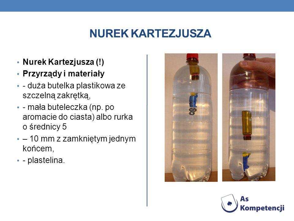 NUREK KARTEZJUSZA Nurek Kartezjusza (!) Przyrządy i materiały - duża butelka plastikowa ze szczelną zakrętką, - mała buteleczka (np. po aromacie do ci