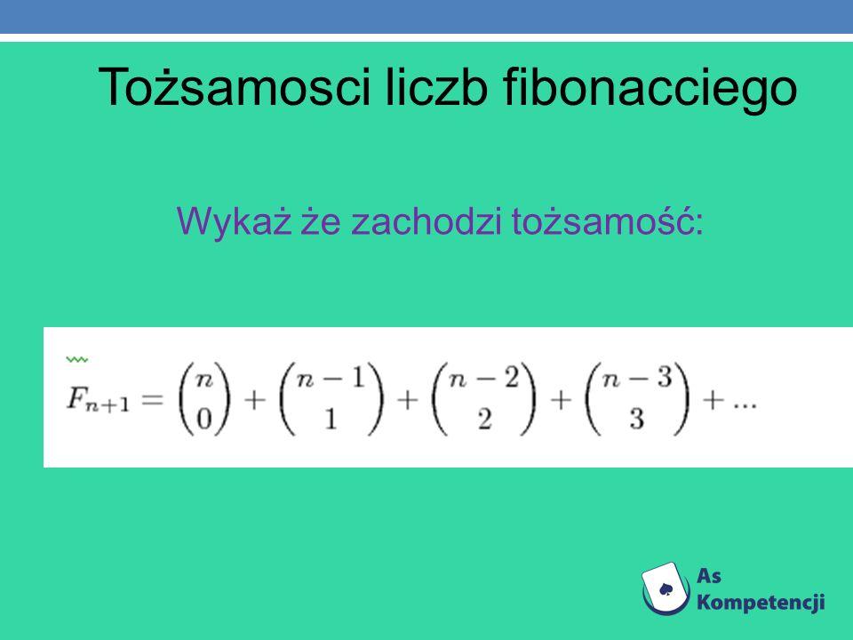 Tożsamosci liczb fibonacciego Wykaż że zachodzi tożsamość:
