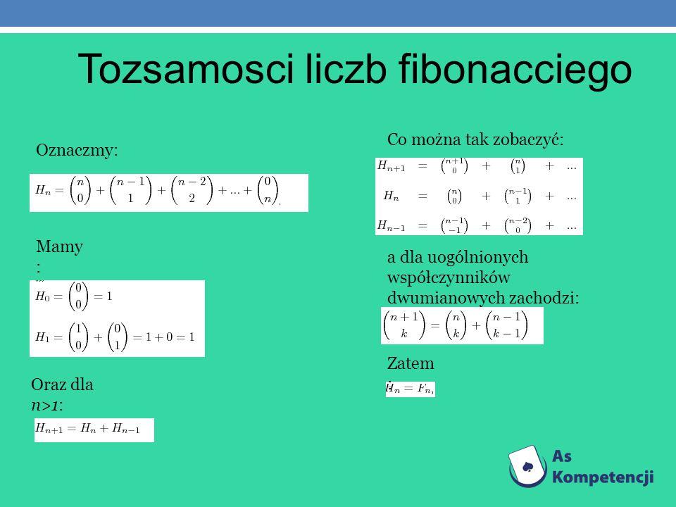 Tozsamosci liczb fibonacciego Oznaczmy: Mamy : a dla uogólnionych współczynników dwumianowych zachodzi: Zatem : Oraz dla n>1: Co można tak zobaczyć: