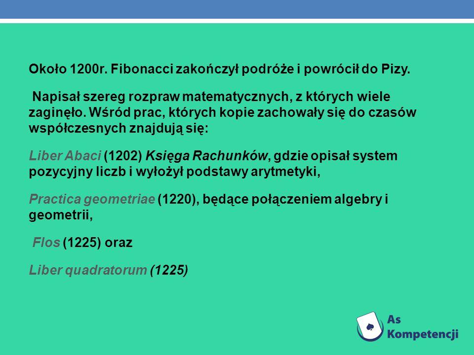 Około 1200r. Fibonacci zakończył podróże i powrócił do Pizy. Napisał szereg rozpraw matematycznych, z których wiele zaginęło. Wśród prac, których kopi