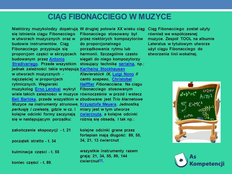CIĄG FIBONACCIEGO W MUZYCE Niektórzy muzykolodzy dopatrują się istnienia ciągu Fibonacciego w utworach muzycznych oraz w budowie instrumentów. Ciąg Fi