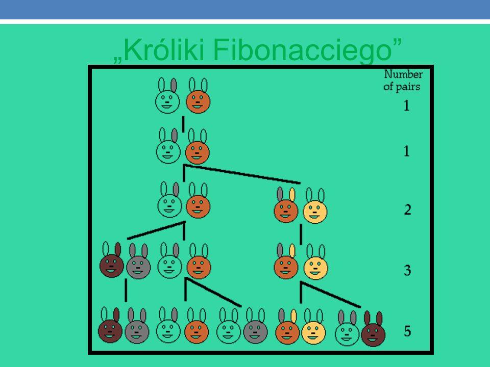 1.PODSTAWOWE ZWIĄZKI POMIĘDZY WYRAZAMI TEGO CIĄGU Ciąg Fibonacciego – ciąg liczb naturalnych określony rekurencyjnie w sposób następujący:ciągliczb naturalnych Pierwszy wyraz jest równy 0, drugi jest równy 1, każdy następny jest sumą dwóch Ciąg został podany w 1202 roku przez Leonarda z Pizy zwanego Fibonaccim w swoim dziele Liber abaci jako rozwiązanie zadania o rozmnażaniu się królików.