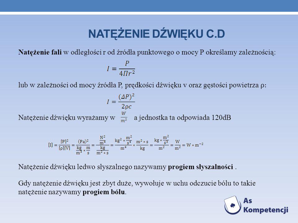 NATĘŻENIE DŹWIĘKU C.D Natężenie fali w odległości r od źródła punktowego o mocy P określamy zależnością: lub w zależności od mocy źródła P, prędkości