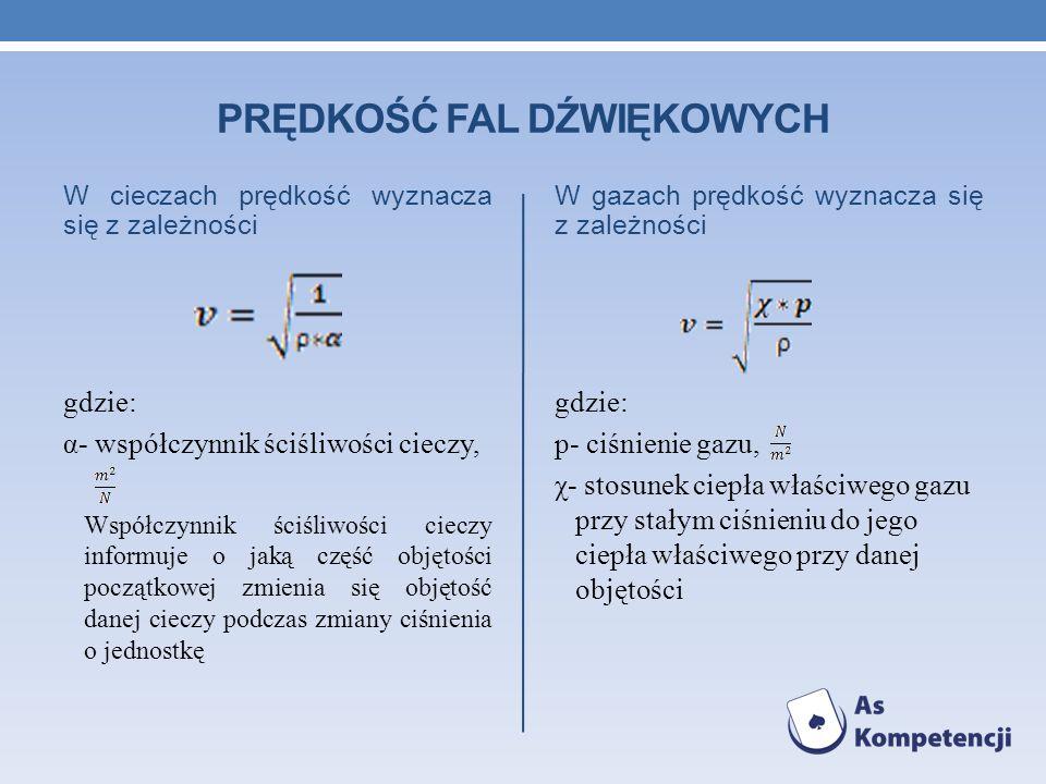 PRĘDKOŚĆ FAL DŹWIĘKOWYCH W cieczach prędkość wyznacza się z zależności gdzie: α- współczynnik ściśliwości cieczy, Współczynnik ściśliwości cieczy info