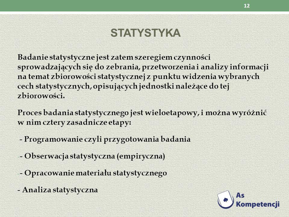 STATYSTYKA Badanie statystyczne jest zatem szeregiem czynności sprowadzających się do zebrania, przetworzenia i analizy informacji na temat zbiorowośc