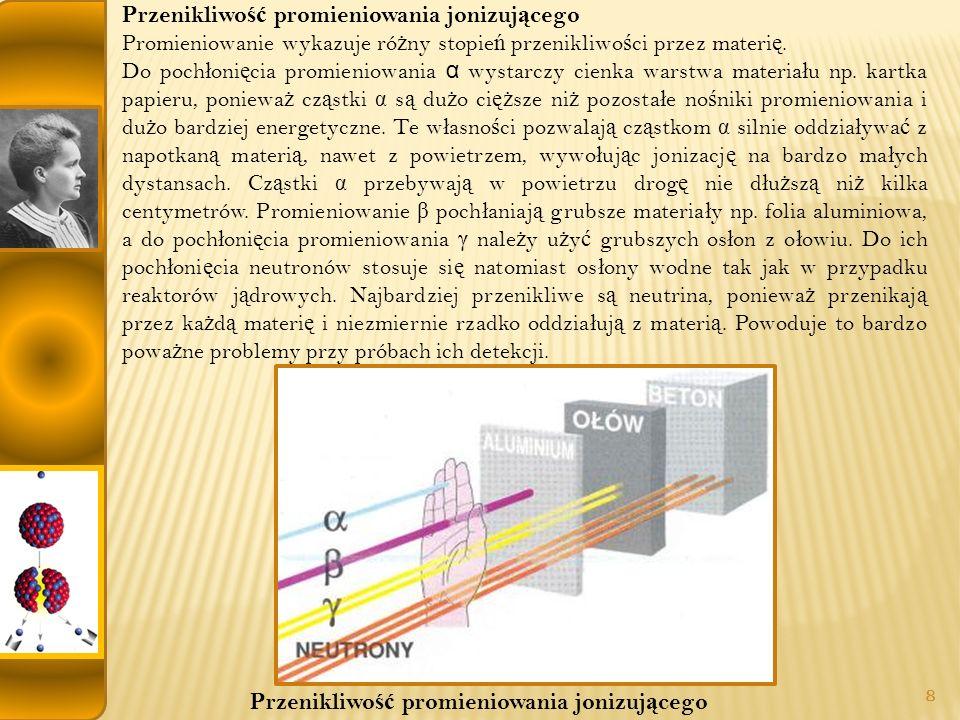 Przenikliwo ść promieniowania jonizuj ą cego Promieniowanie wykazuje ró ż ny stopie ń przenikliwo ś ci przez materi ę.