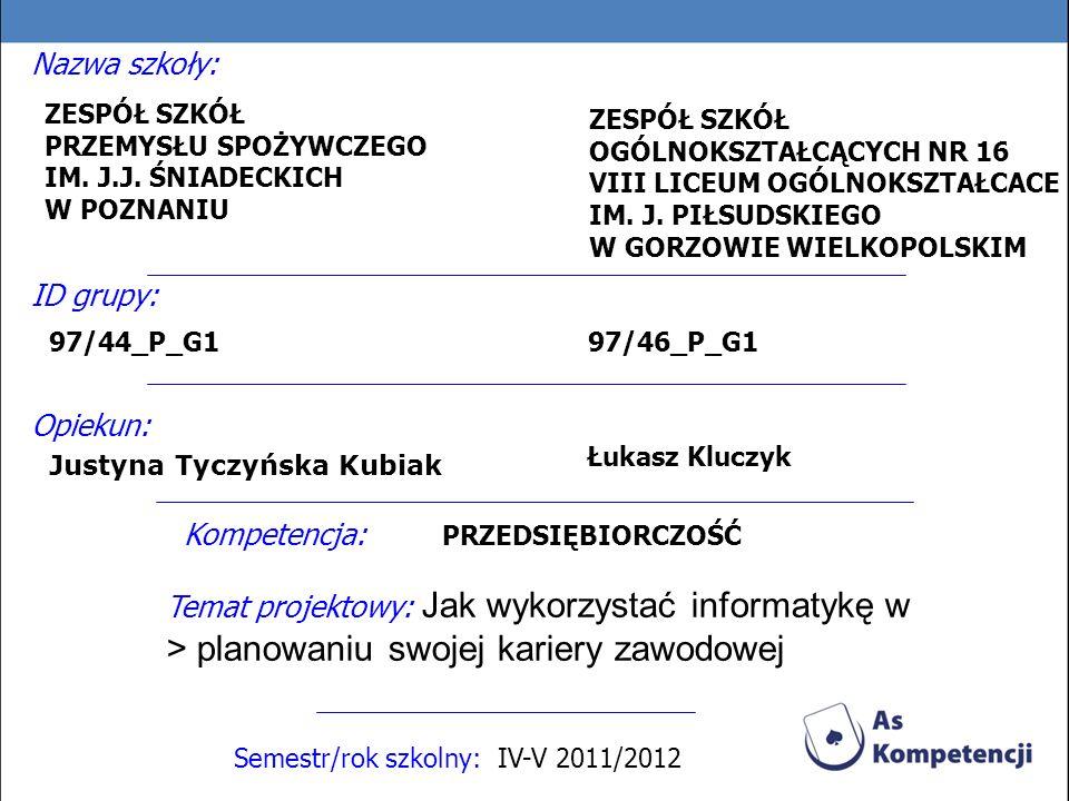 Nazwa szkoły: Semestr/rok szkolny: IV-V 2011/2012 ZESPÓŁ SZKÓŁ OGÓLNOKSZTAŁCĄCYCH NR 16 VIII LICEUM OGÓLNOKSZTAŁCACE IM.