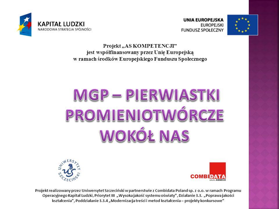 Projekt AS KOMPETENCJI jest współfinansowany przez Unię Europejską w ramach środków Europejskiego Funduszu Społecznego Projekt realizowany przez Uniwersytet Szczeciński w partnerstwie z Combidata Poland sp.