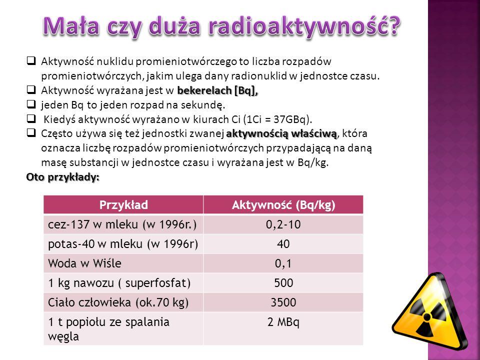Aktywność nuklidu promieniotwórczego to liczba rozpadów promieniotwórczych, jakim ulega dany radionuklid w jednostce czasu. bekerelach [Bq], Aktywność