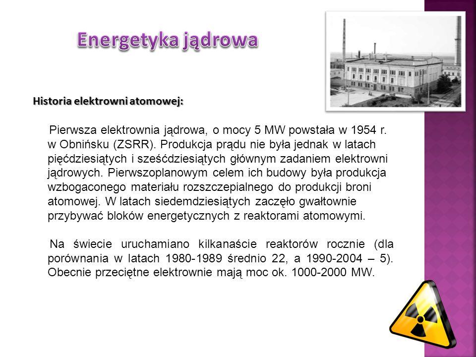 Historia elektrowni atomowej: Pierwsza elektrownia jądrowa, o mocy 5 MW powstała w 1954 r. w Obnińsku (ZSRR). Produkcja prądu nie była jednak w latach