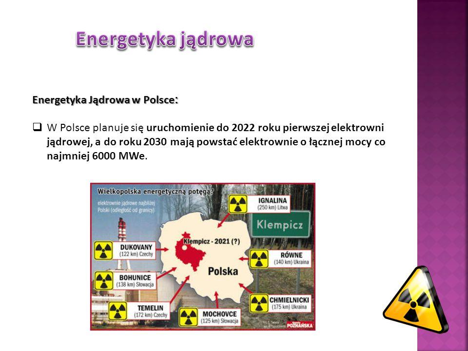 Energetyka Jądrowa w Polsce : W Polsce planuje się uruchomienie do 2022 roku pierwszej elektrowni jądrowej, a do roku 2030 mają powstać elektrownie o łącznej mocy co najmniej 6000 MWe.