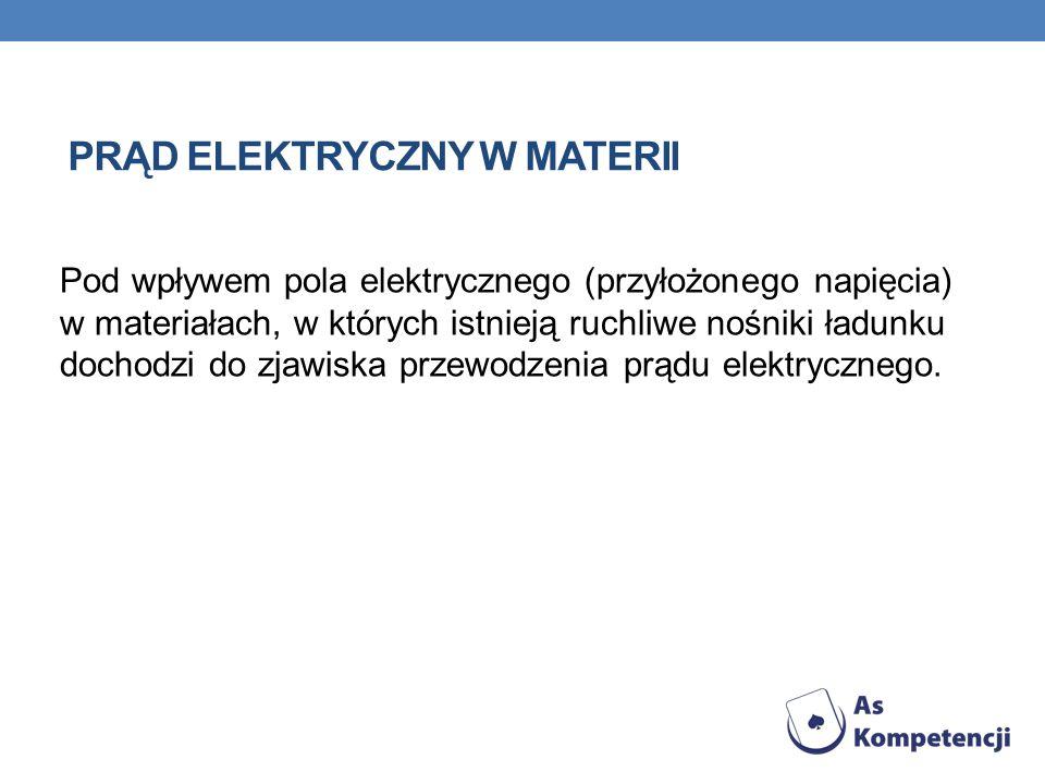 PRĄD ELEKTRYCZNY W MATERII Pod wpływem pola elektrycznego (przyłożonego napięcia) w materiałach, w których istnieją ruchliwe nośniki ładunku dochodzi