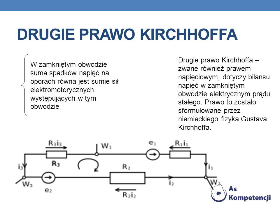 DRUGIE PRAWO KIRCHHOFFA Drugie prawo Kirchhoffa – zwane również prawem napięciowym, dotyczy bilansu napięć w zamkniętym obwodzie elektrycznym prądu st