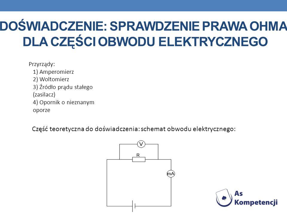 DOŚWIADCZENIE: SPRAWDZENIE PRAWA OHMA DLA CZĘŚCI OBWODU ELEKTRYCZNEGO Przyrządy: 1) Amperomierz 2) Woltomierz 3) Źródło prądu stałego (zasilacz) 4) Op