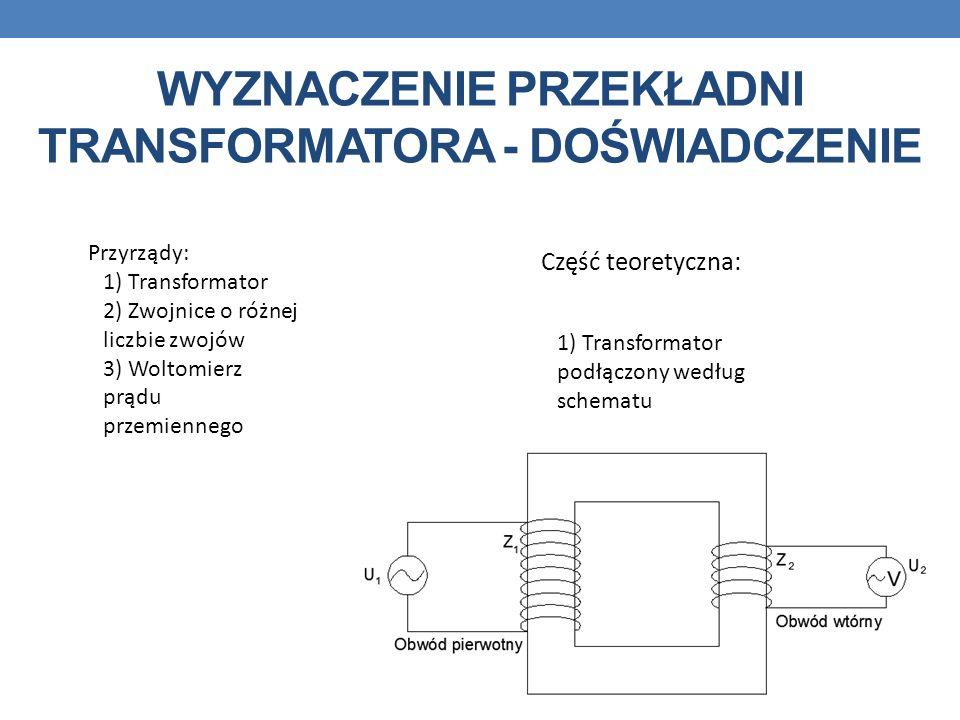 WYZNACZENIE PRZEKŁADNI TRANSFORMATORA - DOŚWIADCZENIE Przyrządy: 1) Transformator 2) Zwojnice o różnej liczbie zwojów 3) Woltomierz prądu przemiennego