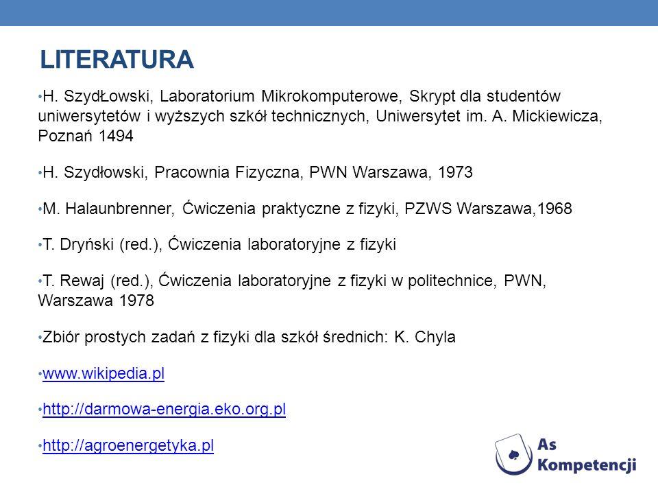 LITERATURA H. SzydŁowski, Laboratorium Mikrokomputerowe, Skrypt dla studentów uniwersytetów i wyższych szkół technicznych, Uniwersytet im. A. Mickiewi