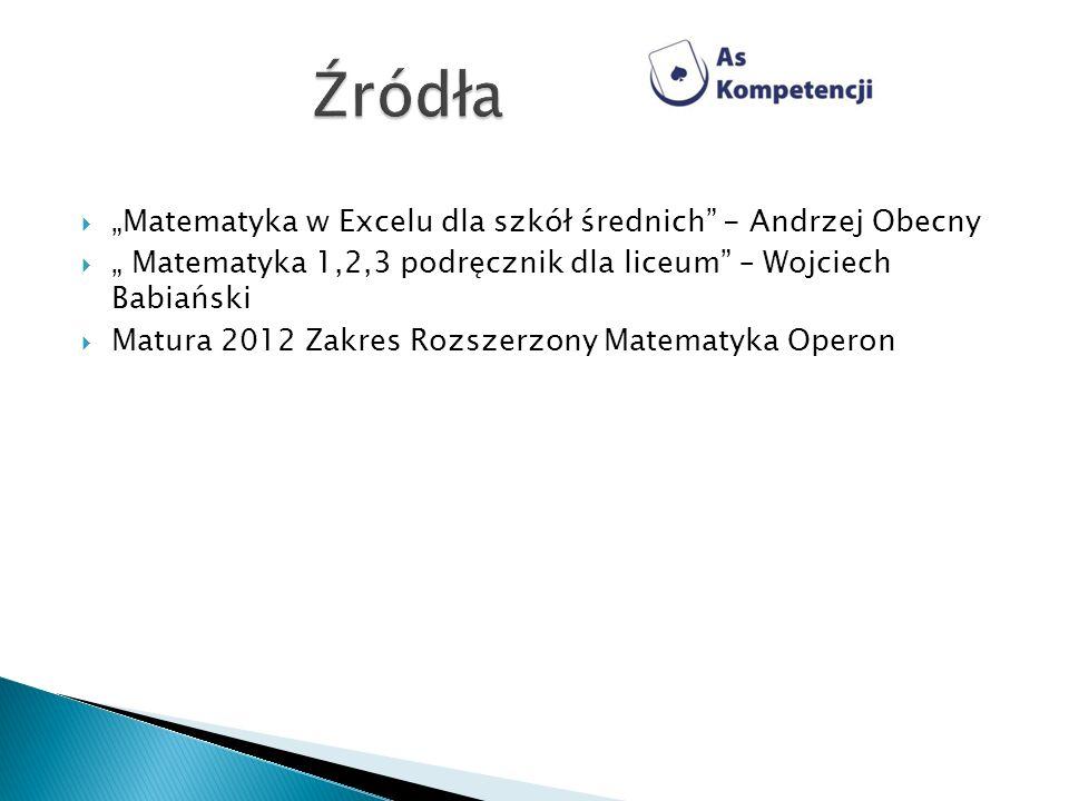 Matematyka w Excelu dla szkół średnich - Andrzej Obecny Matematyka 1,2,3 podręcznik dla liceum – Wojciech Babiański Matura 2012 Zakres Rozszerzony Mat